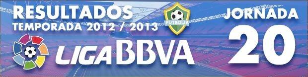Resultados Liga BBVA 2012-13: Jornada 20