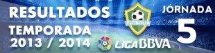 Resultados Liga BBVA 2013-14: Jornada 5