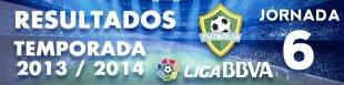 Resultados Liga BBVA 2013-14: Jornada 6