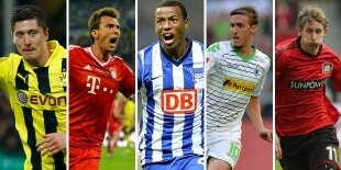 Top-5 delanteros centro Bundesliga (Primera vuelta)